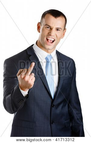 Manager showing obscene gesture, isolated on white