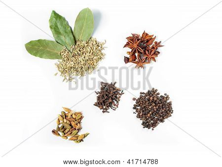 6 spices on the white background