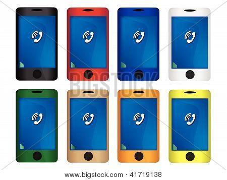 Conjunto de ilustração colorida de telefone inteligente móvel