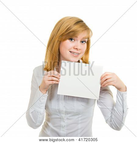 Young Woman With Brackets And White Billboard