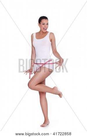 happy woman excited standing with measuring tape,  success weight loss,  isolated on white background.