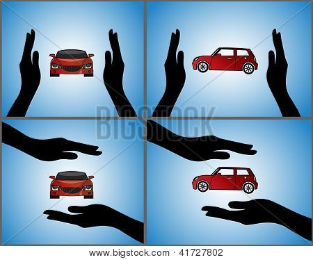 Four Different Illustrations Of A Car Insurance Or Car Protection Using Hand Silhouettes And Front A