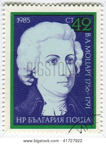 BULGARIA - CIRCA 1985: Postage stamps printed in Bulgaria dedicated to Wolfgang Amadeus Mozart (1756-1791), Austrian composer, circa 1985.