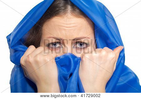 Scared Girl In Green Hijab
