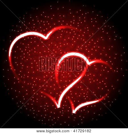 Two Glowing Heart On Red For Valentine Background