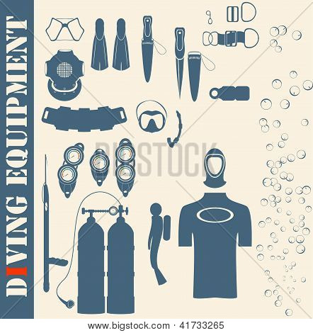 Vector set web icons. diving and mask