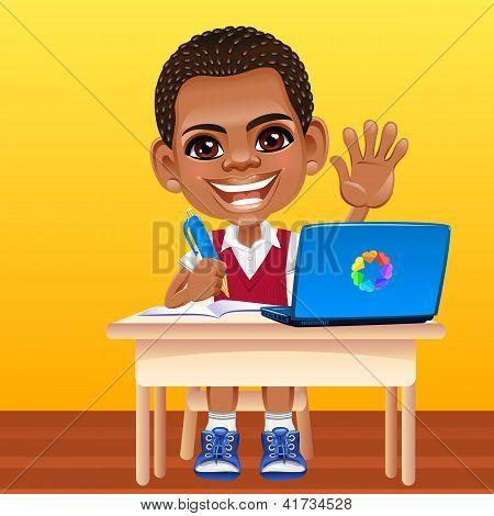 Vector feliz sonriendo a colegial africano