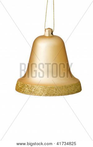 Gold Christmas Bell Ornament On White Background.