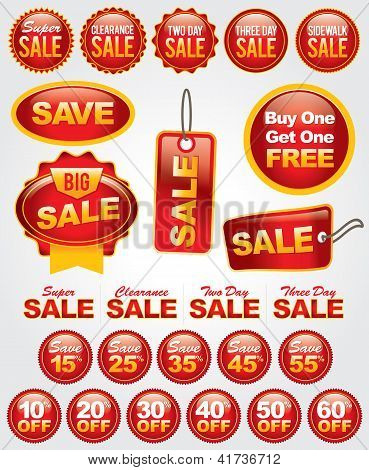 Vector Set of Sale and Promotion Labels and Badges