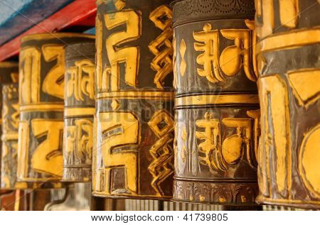 Prayer Wheels at Dro-dul or Do-drul Chorten in Gangtok, Sikkim, India.