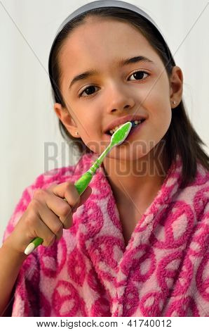 Little Hispanic Girl Oral Hygiene