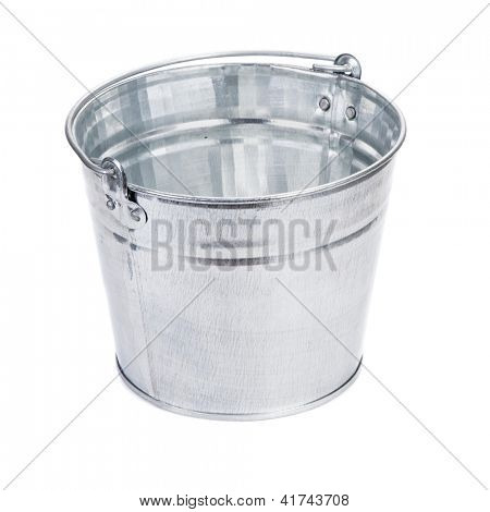 Empty metal bucket isolated on white background