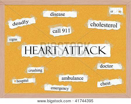 Conceito de palavra de quadro de avisos de ataque cardíaco