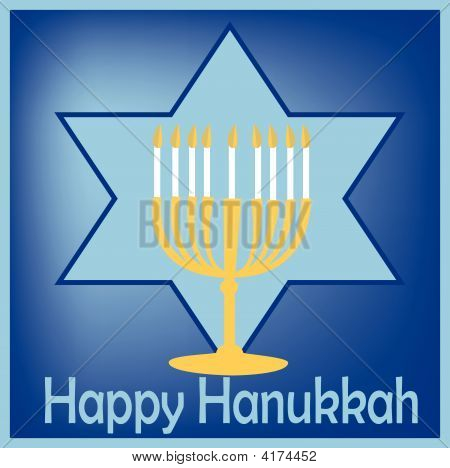 Card Design With Hanukkah Greeting Light And Star