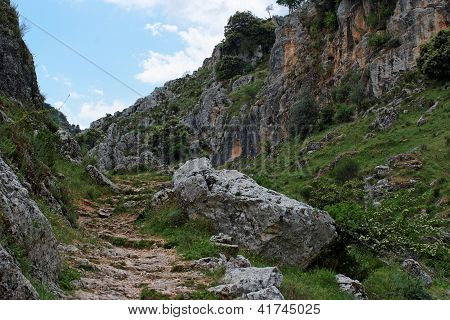 Rocky Mirador de Bailon gorge near Zuheros in Spain in cloudy day