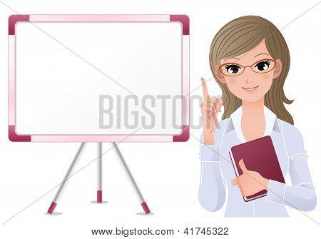 Cute woman lecturring beside white board