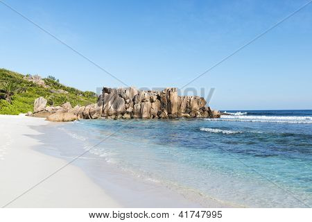 beach of the island of La Digue.