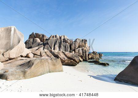 Beautiful Tropical Beach La Digue Island