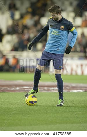 VALENCIA - FEBRUARY 3: Gerard Pique during Spanish League match between Valencia CF and FC Barcelona, on February 3, 2013, in Mestalla Stadium, Valencia, Spain