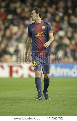 VALENCIA - FEBRUARY 3: Sergio Busquets during Spanish League match between Valencia CF and FC Barcelona, on February 3, 2013, in Mestalla Stadium, Valencia, Spain
