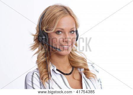 Blonde helpdesk woman