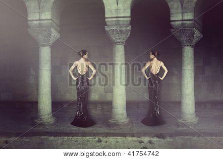 elegant fantasy women between columns
