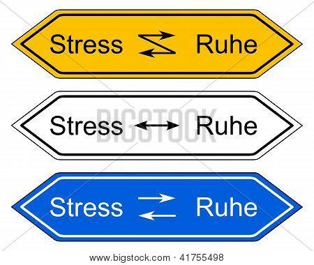 Richtung Zeichen Stress und Ruhe