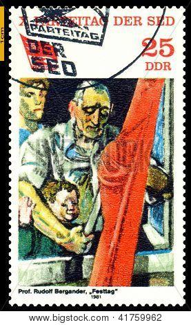 Vintage Postage Stamp.  Festivities.