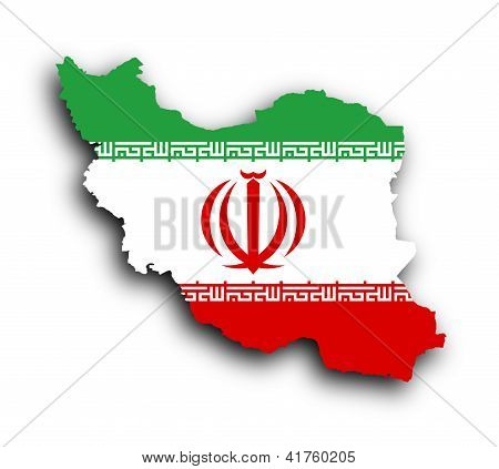 Map Of Iran And Iranian Flag Illustration