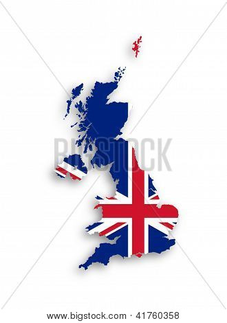 Map Of The United Kingdom Of Great Britain And Northern Ireland With National Flag