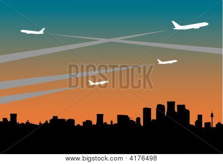 City Skyline With Jets