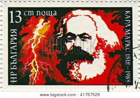 BULGARIA - CIRCA 1988: Postage stamps  dedicated to Karl Marx (1818-1883), German philosopher, economist, sociologist, historian, journalist, and revolutionary socialist, circa 1988.
