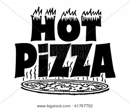 Hot Pizza Banner - Retro Clipart Illustration