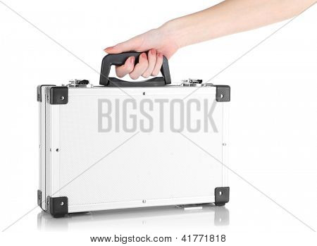Hand holding silver case isolated on white