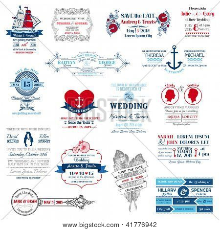 Wedding Invitation Collection - for design, scrapbook - in vector