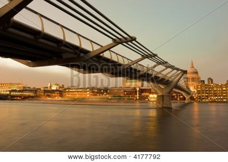 London Landmark - Millenium Bridge And St Pauls Cathedral