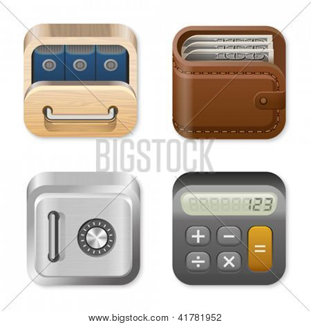Icons trendy templates for Finance and Business applications. Drawer, Wallet, Vault, Calculator. UI Square icons set. High detail vector icon pack. Editable.