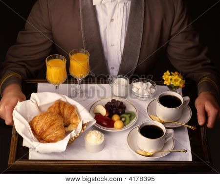 Hotel Room Service Delivery Of Continential Breakfast