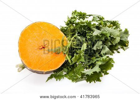 Slice Of Buttercup Squash And Broccoli Rabe