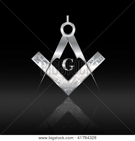 Old-fashioned engraved silver square and compass set on black background with reflection. Also available in vector format