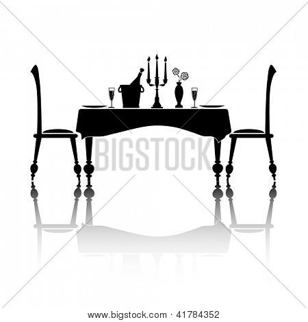 Silhouette of a romantic table setting for two. Black and white with reflection and space for your text. Also available in vector format