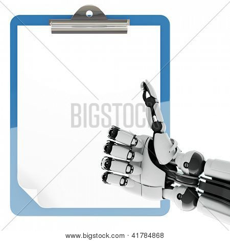 Isolated robotic arm showing thumbs up and paper pad holder on white background
