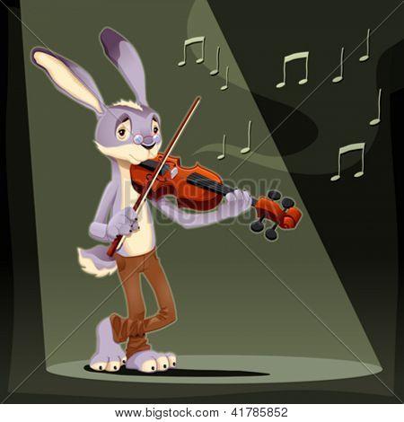 Musician Rabbit. Funny cartoon and vector illustration