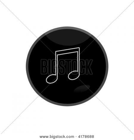 Black Glossy Web Button Music