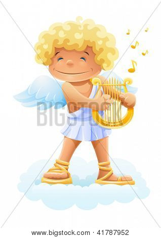 smile cupid playing lyre. Rasterized illustration. Vector version also available in my gallery.