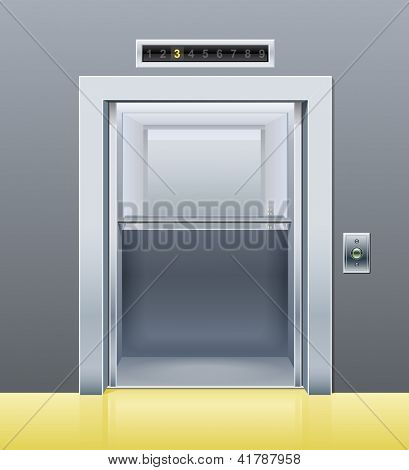 elevator with opened door. Rasterized illustration. Vector version also available in my gallery.