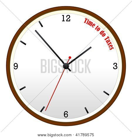 Time To Do Taxes Wooden Wall Clock Concept