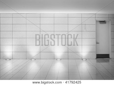 walls and door in an underground montreal metro corridor