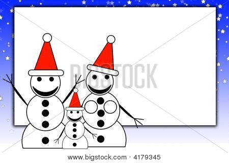 Snowmen At Night With Blank Sign