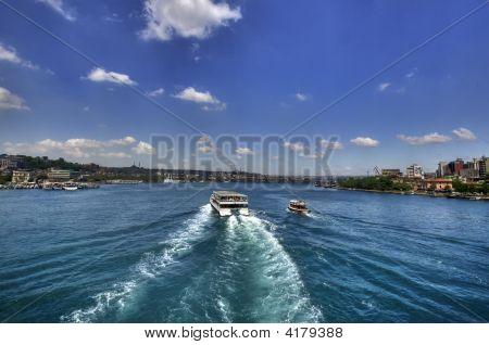 Boat In Halic Istanbul (Golden Horn) Near Ayasophia